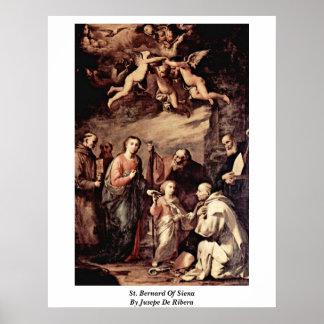 St. Bernard Of Siena By Jusepe De Ribera Print