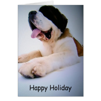 ST. BERNARD TO THE RESCUE=CHRISTMAS WISHES GREETING CARD