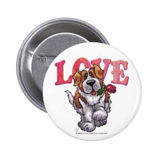 St Bernard Valentine s Day Pinback Buttons