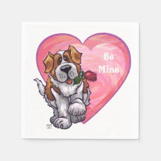 St. Bernard Valentine's Day Paper Serviettes