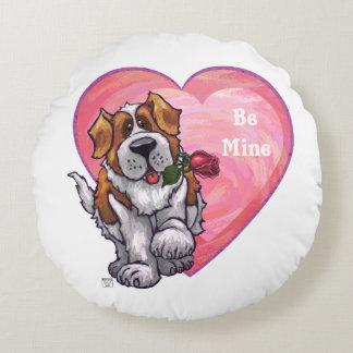 St. Bernard Valentine's Day Round Cushion