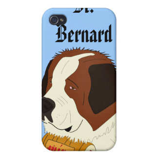 St. Bernard with a Small Wine Barrel - Line Art Cover For iPhone 4