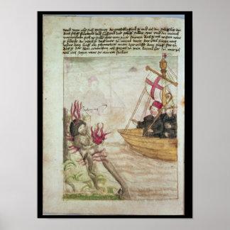 St. Brendan in his ship Poster