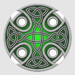St. Brynach's Cross green and grey Round Stickers