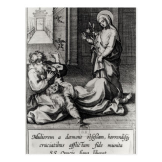 St. Catherine Exorcising a Demon from a Woman Postcard