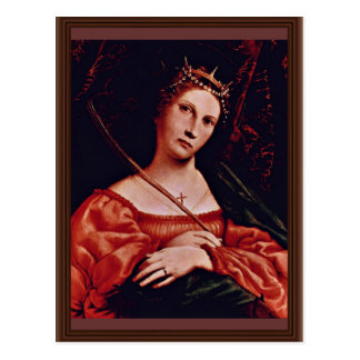 St. Catherine Of Alexandria By Lotto Lorenzo (Best Postcard