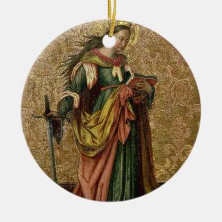 St. Catherine of Alexandria (oil on panel) 2 Ceramic Ornament