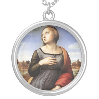 St. Catherine of Alexandria Silver Plated Necklace