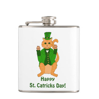 St. Catrick's Day Cat Leprechaun in Shamrock Hat Hip Flask
