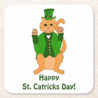 St. Catrick's Day Cute Cat Leprechaun Square Paper Coaster