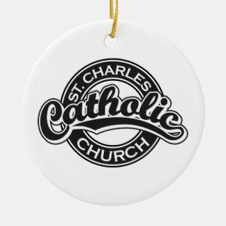 St. Charles Catholic Church Black and White Christmas Tree Ornaments