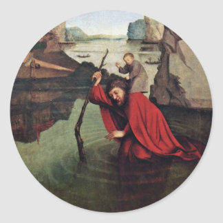 St. Christopher By Witz Konrad (Best Quality) Round Sticker