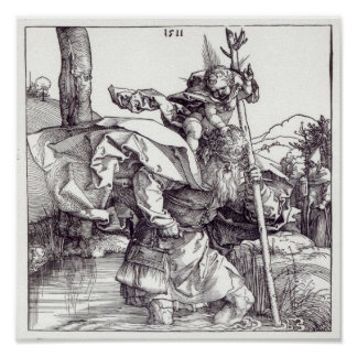 St.Christopher carrying the Infant Christ, 1511 Poster