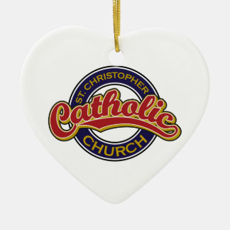 St. Christopher Catholic Church Red on Blue Christmas Tree Ornament