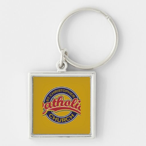 St. Christopher Catholic Church Red on Blue Key Chains