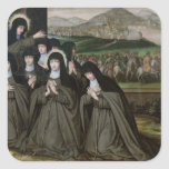 St. Claire with her Sister, Agnes and Nuns Square Stickers