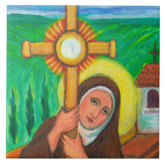 """""""St Clare of Assisi"""" Large Square Tile"""