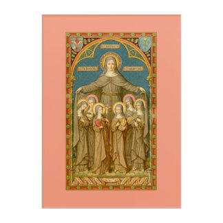 "St. Clare of Assisi & Nuns (SAU 27) 10""x14"" Acrylic Wall Art"