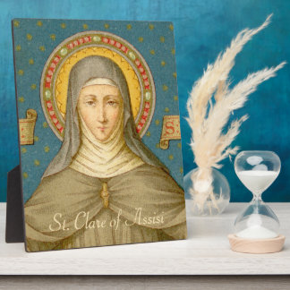 """St. Clare of Assisi (SAU 027) 8""""x12"""" Plaque"""