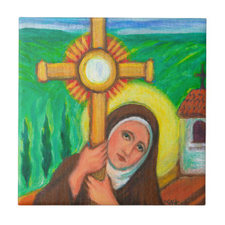 St Clare of Assisi Small Square Tile