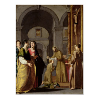 St. Clare Receiving the Veil from St. Francis Poster