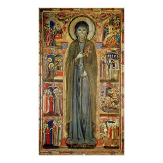 St. Clare with Scenes from her Life Poster
