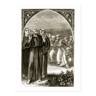 St. Columba chanting, and attacked by the Druids, Postcard