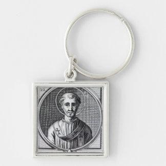St. Cornelius Silver-Colored Square Key Ring