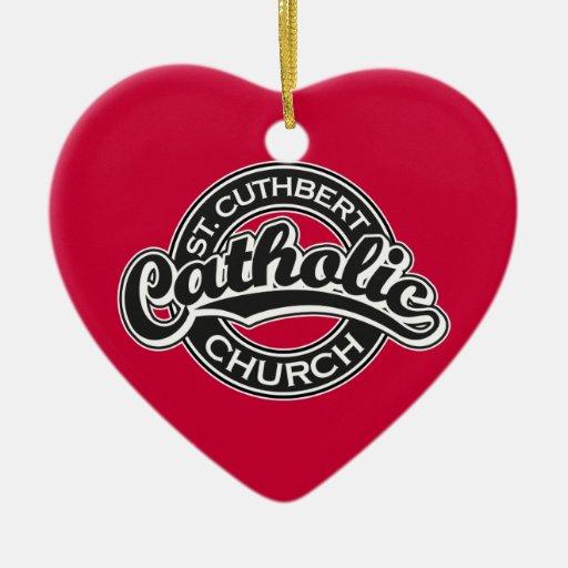 St. Cuthbert Catholic Church Black and White Ornament