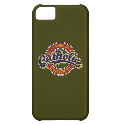 St. Cuthbert's Catholic Church Blue on Red iPhone 5C Covers