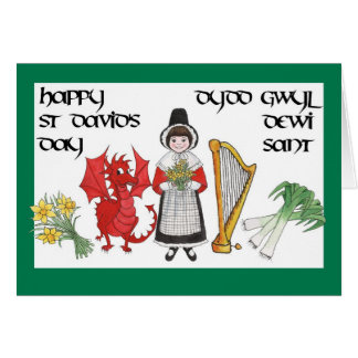 St David's Day Greeting Card: Bilingual Card
