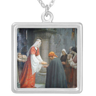 St. Elizabeth of Hungary Feeds the Poor Silver Plated Necklace