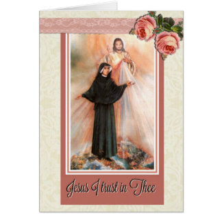 St. Faustina Note Card w/scriptural verse