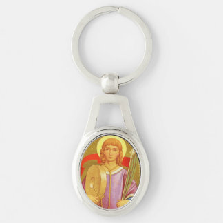 St. Florian of Lorch (PM 03) Oval Metal Silver-Colored Oval Key Ring