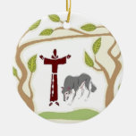 St. Francis and The Wolf tie, gift box, chain etc Double-Sided Ceramic Round Christmas Ornament