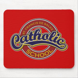 St. Francis De Sales Catholic School Blue on Red Mousepad