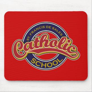 St. Francis De Sales Catholic School Red on Blue Mousepads