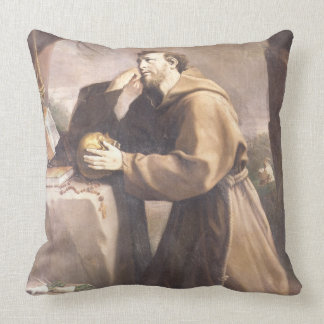 St. Francis of Assisi at Prayer Throw Pillow