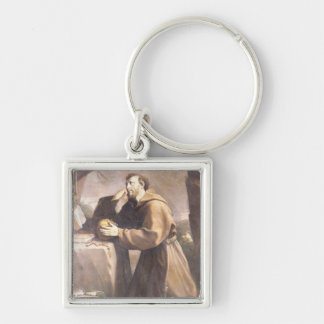 St. Francis of Assisi at Prayer Silver-Colored Square Key Ring