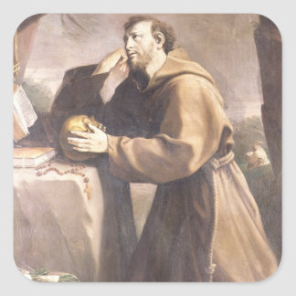 St Francis of Assisi at Prayer Square Stickers