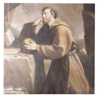 St. Francis of Assisi at Prayer Large Square Tile