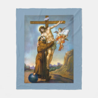 St. Francis of Assisi Jesus Crucifixion Angels Fleece Blanket