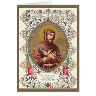 St. Francis of Assisi Patron Cross Gold Border Card
