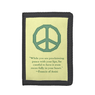 St. Francis of Assisi Peace Quote Tri-fold Wallets