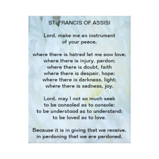 St Francis of Assisi Prayer Canvas Prints