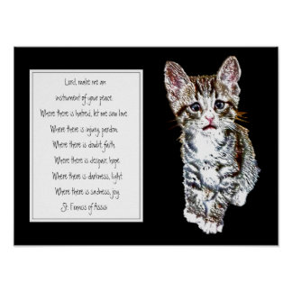St. Francis of Assisi Prayer with Sweet Kitten Cat Poster