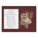 St. Francis of Assisi Prayer with Wise Owl Bird Print