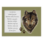 St. Francis of Assisi Prayer with Wolf  & Tracks Poster