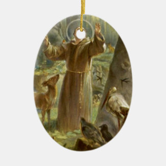 St. Francis of Assisi Preaching to the Animals Ceramic Oval Decoration