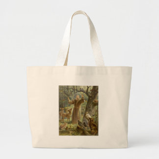 St. Francis of Assisi Preaching to the Animals Large Tote Bag